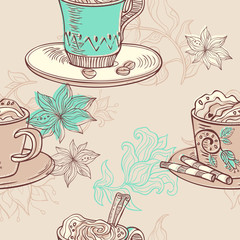 illustration with coffee cups. seamless pattern