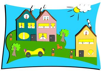 dessin d'enfant de maisons avec voiture, chat et fleurs