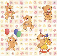 wallpaper with stuffed bear cubs
