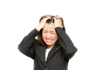 Asian business woman holding hair with stress face on white back