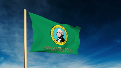washington flag slider style with title. Waving in the wind with