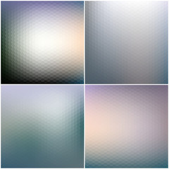 Abstract blurred hexagonal backgrounds set