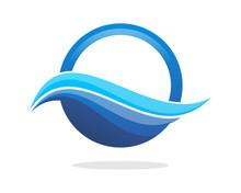 Wave Blue Circle Sticker