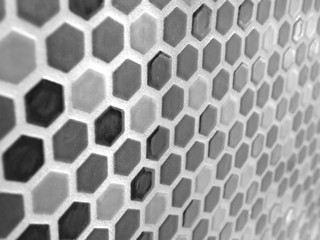 black and white hexagon mosaic tile wall or background