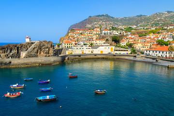 View of Camara de Lobos fishing village and port, Madeira island