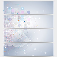Web banners set, molecular design header layout templates