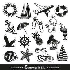 black and white summer icons