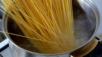 Closeup of preparing spaghetty
