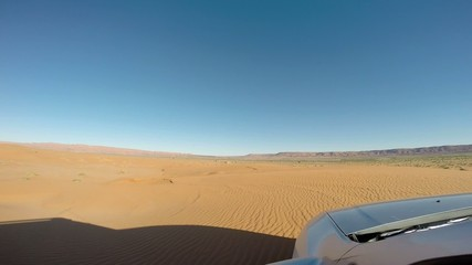 Driving in the desert with a 4wd car. Morocco, Africa.