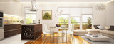 Fototapety Modern living room and kitchen