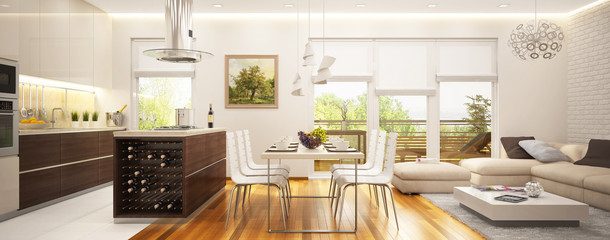 Modern living room and kitchen