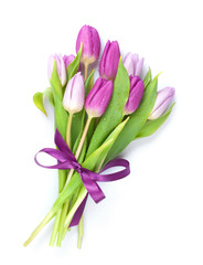 Purple tulips bouquet with ribbon