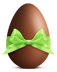 Easter chocolate egg with green ribbon bow