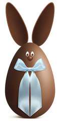 bunny  Easter egg chocolate with blue ribbon bow