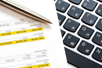 Pen, keyboard and financial calculations