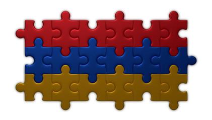 Armenian flag of puzzle pieces