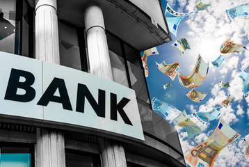 Bank Sign and Banknotes