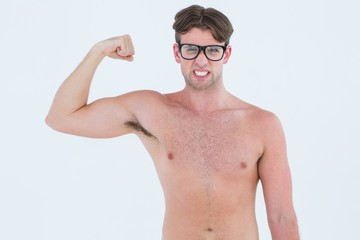 Geeky hipster posing topless