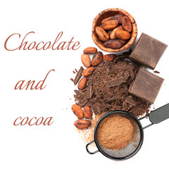Chocolate and cocoa on a white background