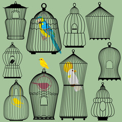 Set of decorative bird cage Silhouettes and birds - parrots and