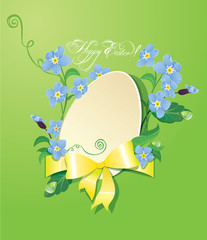 Easter greeting card with paper egg, ribbon and forget me not sp