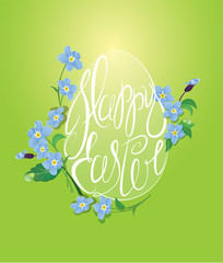 Holiday greeting card with egg is made of calligraphic text Happ