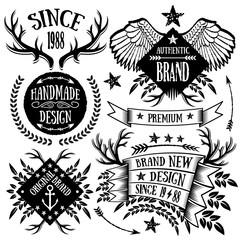 Vintage ribbons, labels and badges set 4