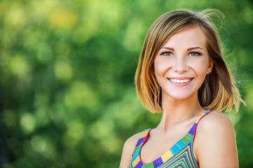 portrait young charming short-haired woman