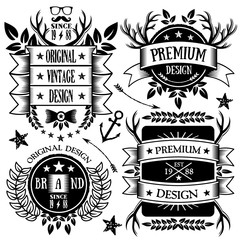 Vintage ribbons, badges and labels set 5