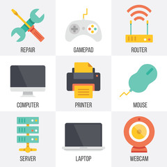 Vector computer hardware and technology icons set. Set 9