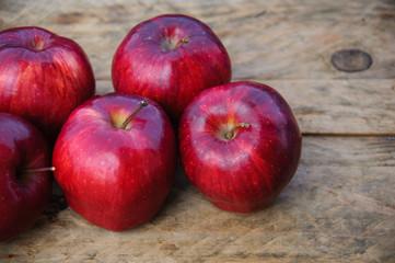 Apple on wooden background, Fruit or healthy fruit