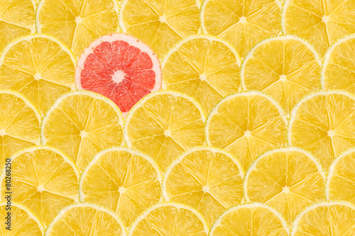 Fotobehang Vruchten One Pink Grapefruit Slice Stand Out Of Yellow Lemon Slices