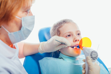 Dentist ultraviolet light equipment. Child.