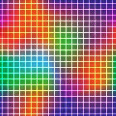 neon shine grid with rainbow colors