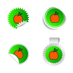 sticker green color with red peach vector