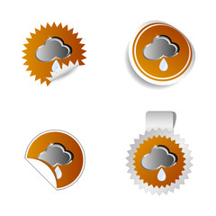 sticker weather forecast cloud and water drop vector