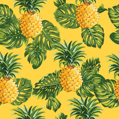 Pinapples and Tropical Leaves Background
