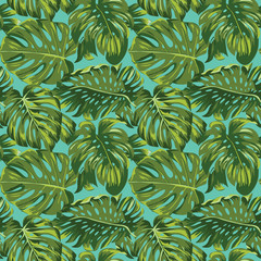 Tropical Leaves Background - Seamless Pattern - in vector