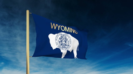 wyoming flag slider style with title. Waving in the wind with