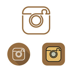 Contour social network cam icon and srtickers vector set