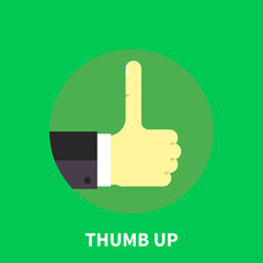 Thumb up symbol - flat illustration.
