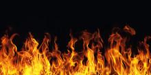 """Постер, картина, фотообои """"burning fire flame on black background"""""""
