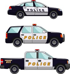 Police car on a white background in a flat style