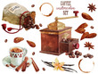 Coffee watercolor collection - 80270482
