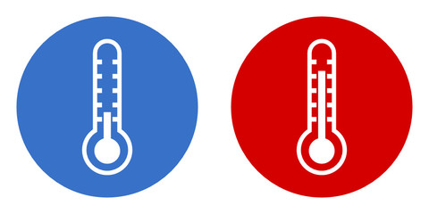 hot and cold thermometer icon set