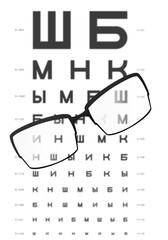 Glasses on the table with eye test chart in the background,for D