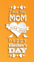 mothers day card, white text on yellow background