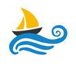 Sailing boat on the water, vector logo - 80271643