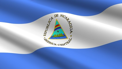 Nicaragua flag background. Computer generated 3D photo rendering