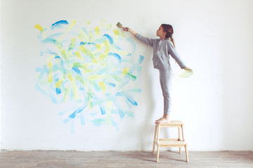 Child painting wall